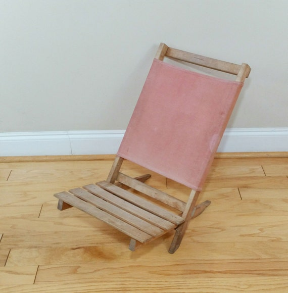 Vintage Wood and Canvas Folding Beach Chair