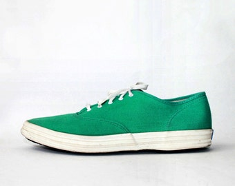 1980's Keds Teal Green Canvas Sneakers