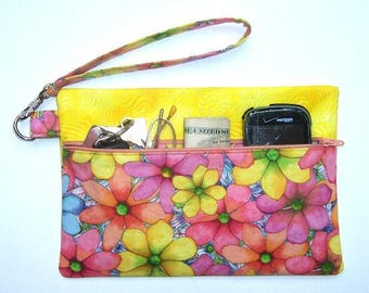Peach Floral Wristlet, Yellow Clutch, Pink Blue Wallet, Phone Holder, Floral Zippered Makeup Bag, Front Zip Small Purse, Travel Small Purse