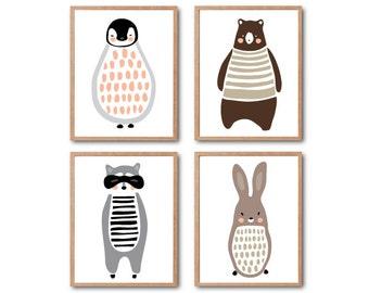 Woodland Animal Print, Baby Nursery Decor, Penguin Art Print, Brown Bear, Racoon, Rabbit, PRINT SET, Safari Animal, Safari Nursery, Kid room