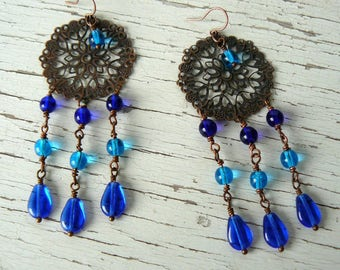 Long Bohemian Style Earrings, Blue and Turquoise Drops with Antique Copper Filigree Medallion, Vintage Boho Style Jewelry, Dangle Earrings
