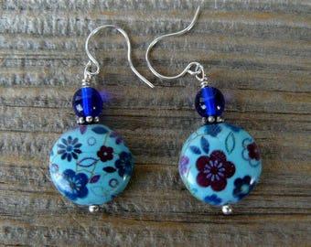 Blue Floral Earrings, Multicolored Flowered Earrings, Blue Disc Bead Dangles, Simple Beaded Earrings, Everyday Jewelry