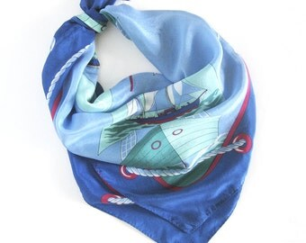 Vintage Nautical Theme 100% Silk Scarf with Sailboats in Blues and Greens - Hand Rolled Hem
