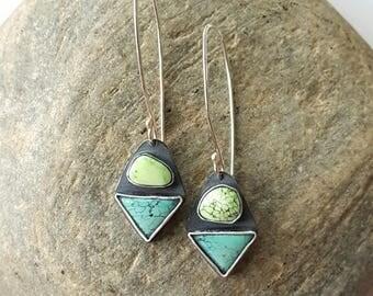Carico Lake Turquoise Earrings Turquoise Earrings Triangle Earring Geometric Earrings Sterling Silver Earrings Unique Earrings One Of A Kind