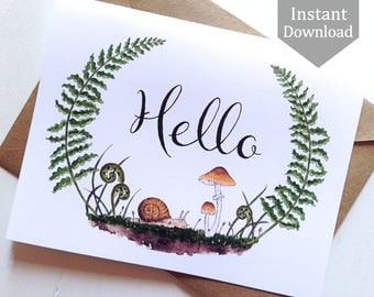 Printable Hello Cards & Postcards - Digital, Woodland, Typography, Forest, Snail, Mushroom, Ferns