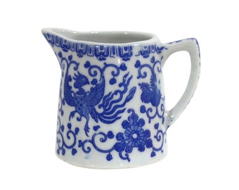 Japanese Phoenix Bird Pitcher | Vintage Porcelain Sauce | Blue and White | Rustic Modern Farmhouse