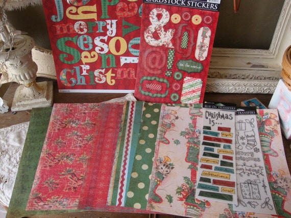 Retro christmas crafting kit scrapbook paper crafts kit for Vintage christmas craft supplies
