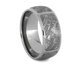 Gibeon Meteorite Wedding Band, Mens Titanium Ring, Meteor Ring, Custom Wedding Band For Him