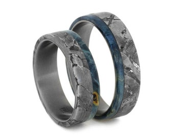 Titanium Wedding Band Set, Seymchan Meteorite Rings With Blue Box Elder Burl, Wooden Ring Set