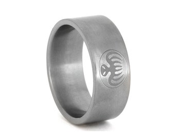 Spectre Ring, Titanium Ring With Light Engraving, James Bond Ring, Personalized Jewelry For Men or Women