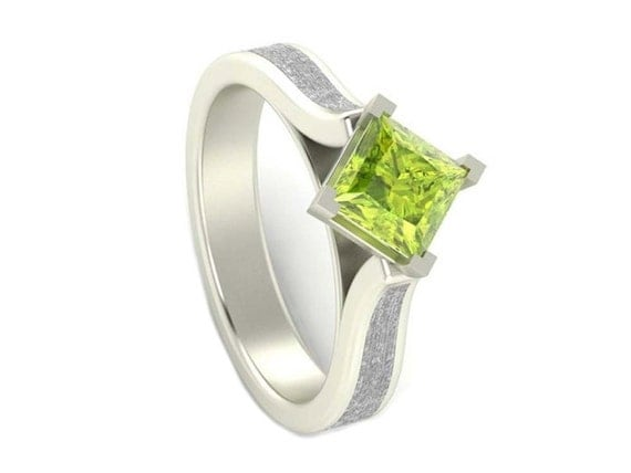 peridot engagement ring white gold and meteorite by