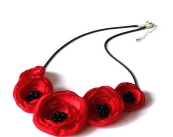 Pretty Red Fabric Poppy Necklace