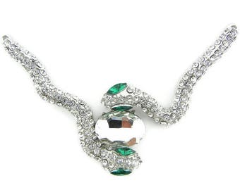 Set of Double Link Silver-tone Two Rhinestone Snakes Pendant Green Eyes