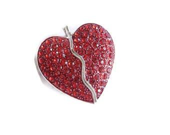 Broken Heart Two Part Magnetized Red Rhinestone Heart Pendant Silver-tone