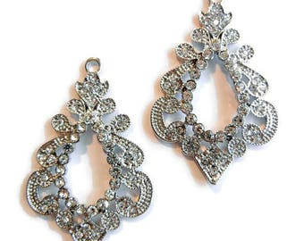 Pair of Beautiful Rhinestone Drop Charms Silver-tone