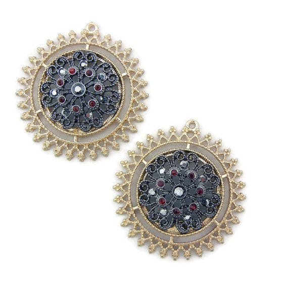 Pair of  Two-tone Round Sun or Flower Red Rhinestone Accented Charms Gold Hematite