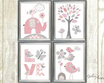 Gray and Pink Nursery Decor Baby Girl Nursery Art Baby Nursery wall art Kids room art Butterfly Tree Elephant Birds  Set of 4 prints