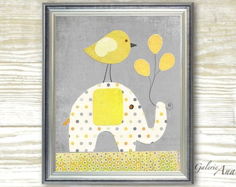 Baby decor nursery- kids art- baby nursery- kids room decor- yellow- gray- kids elephant- Bird Balloons- A Special Day print