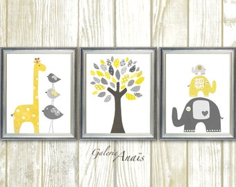 Zoo Nursery Wall Art baby nursery decor yellow and gray giraffe Nursery art Elephant bird Tree - Set of three prints