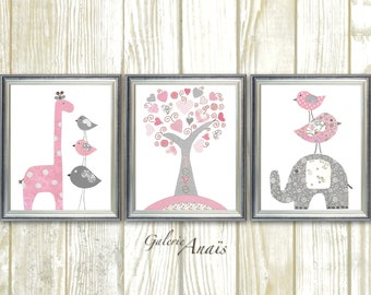 Pink and gray Girl's Room Decor baby Nursery Art - Baby Girl Giraffe Nursery Elephant  Birds Tree Home Decor - Set of three prints