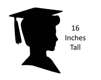 Boy Graduation Boy Silhouette Party Wall Sign Decoration Backdrop High School 2018 Party Supply 16 Inch Tall