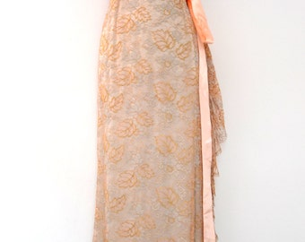 A 1930's Peach, Silver and Gold Lace Wedding Gown. Subtle Train and Ruffle in Silk & Lace
