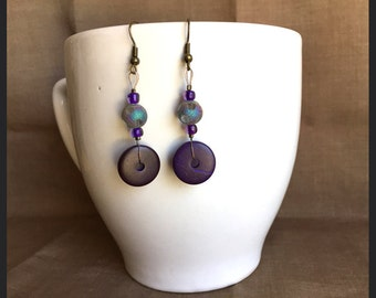 Polynesian Purple... Extreme Decaf Earrings .. FREE U.S. SHIPPING