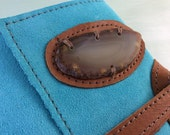 Turquoise Leather Crystal Journal - Reclaimed Suede, Agate Slice, Handmade paper, Handbound with love