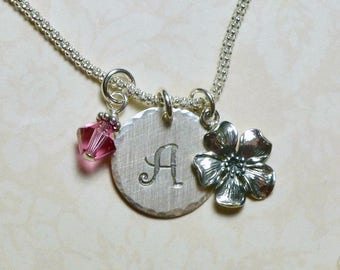 Cherry Blossom Necklace, Cherry Blossom Hand Stamped Sterling Silver Initial Charm Necklace