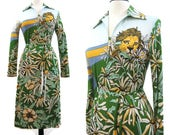 Vintage 70s Dress Maggie for Gene Berk gb3 Novelty Print Jungle Cats Lion Leopard Floral M
