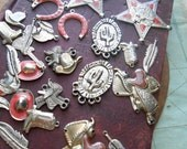 30 pc enamel cowboy country western silver and pink charms - vintage findings old new stock