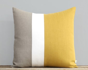 Yellow Color Block Pillow Cover, Spring Decorative Pillow (20x20) by Jillian Rene Decor - 2017, Primrose Yellow, Squash, Maze, Colorblock