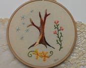 Abstract tree stars flowers- hand embroidery