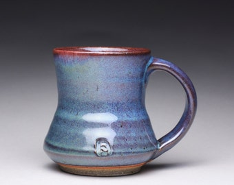 handmade pottery mug, ceramic teacup, coffee cup with dark blue and lavender blue wood ash glazes