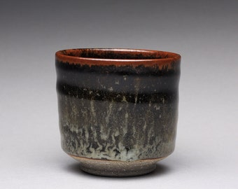handmade ceramic cup, yunomi, pottery teacup, espresso cup with black tenmoku and white glazes