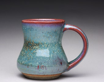 handmade pottery mug, ceramic teacup, coffee cup with emerald green and lavender blue wood ash glazes