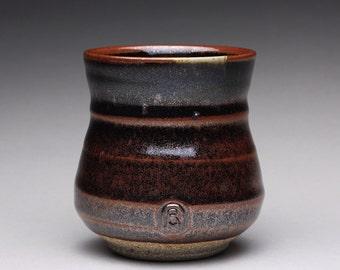 handmade pottery cup, ceramic teacup, tumbler, yunomi with black brown tenmoku and green celadon glazes