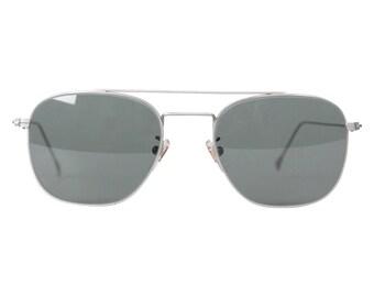 FRECCE TRICOLORI Vintage Silver Sunglasses TITANIUM Italian Aviation G15 Lenses 52mm