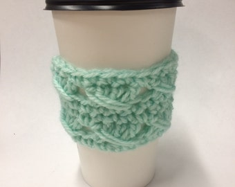 Mint Green Coffee Cozy with design