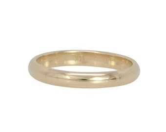 14K Yellow Gold 3x1.5mm Half Round Classic Style Wedding Band or Fashion Ring, Recycled Gold Ring, Sea Babe Jewelry