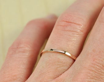 Women's Rose Gold Wedding Band, Skinny Stacking Ring 1.5mm by 1mm Squared Edge, Recycled Eco Friendly, 18K Gold, Sea Babe Jewelry