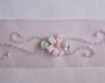 Hand Embroidered PINK Organza Glass Bugle Beaded Beaded Flower Ribbon Trim Antique Vintage Baby Doll Christening Gown Bridal Sash
