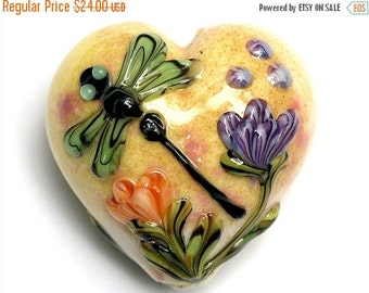 ON SALE 45% OFF 11816825 - Green Dragonfly Orange Floral Heart (Large) - Handmade Glass Lampwork Bead