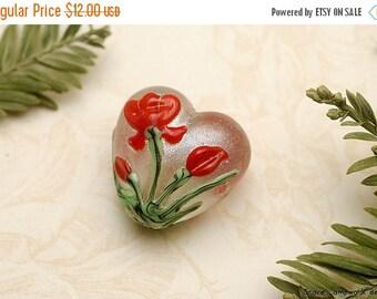 ON SALE 45% OFF Crimson Flower Heart Focal Bead - Handmade Glass Lampwork Bead 11832105
