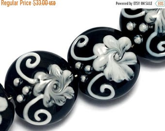 ON SALE 40% OFF Four Midnight Garden Lentil Beads -10204212-Handmade Glass Lampwork Bead