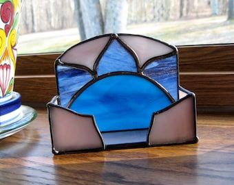 Blue Purple Chakra Stained Glass Business Card Holder-Stained Glass Art-Desk Accessory-Desk Organizer-Business Card Holder