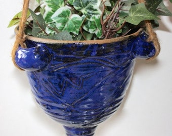 Ceramic  Hanging Planter in Stoneware 6.75 Inches Wide by 8 Inches Tall Good for Herbs and Houseplants OOAK