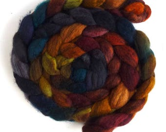 Mixed BFL Wool Roving, Hand Painted Spinning or Felting Fiber, 4 ounces, African Sunset