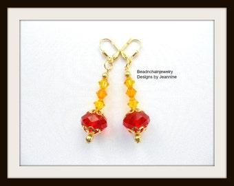 Orange Yellow Swarovski Crystal Earrings