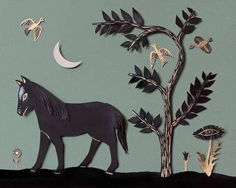 Horse and Moon Shadowbox